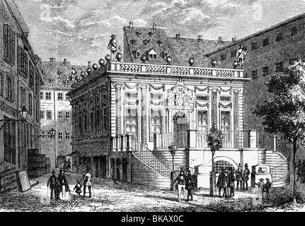 geography / travel, Germany, Leipzig, Old Stock Exchange, Naschmarkt, exterior view, wood engraving, circa 1870, - Stock Photo