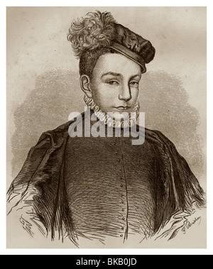 Portrait of Charles IX of France (1550-1574): King of France from 1560 to 1574. - Stock Photo