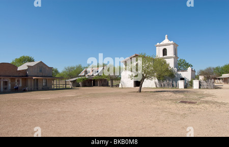 Texas, Hill Country, Brackettville, Alamo Village, movie location since 1951, Old San Fernando Church - Stock Photo