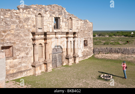 Texas, Hill Country, Brackettville, Alamo Village, movie location since 1951, Alamo Church Replica - Stock Photo