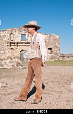 Texas, Hill Country, Brackettville, Alamo Village, movie location since 1951, Alamo Church Replica, guide in period - Stock Photo