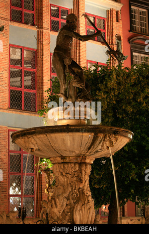 Neptune's Fountain at Long Market in Gdansk, Poland - Stock Photo