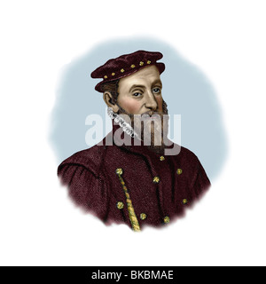Thomas Gresham 1519 1579 English Financier Philanthropist Modern Vignette from an Engraving - Stock Photo