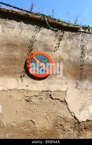No parking sign on the wall in city of Zaragoza, Spain - Stock Photo