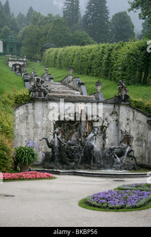 Fountain cascade in the park of Linderhof Palace, Germany - Stock Photo