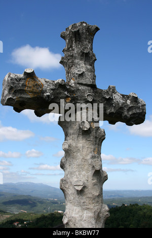 Cross in Bussaco forest - Stock Photo