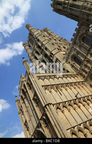 The West Tower and facade of Ely Cathedral, Cambridgeshire, England - Stock Photo