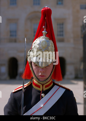 Household Cavalry at Horse Guards Parade, Westminster, London, UK - Stock Photo