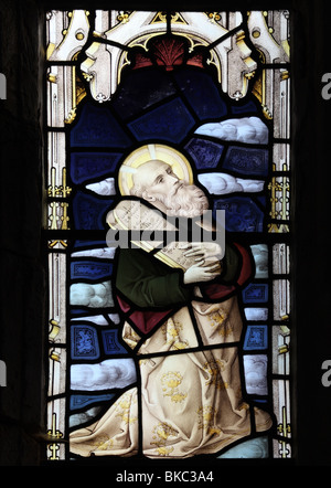 A stained glass window depicting Moses, St Mary the Virgin Church, Tysoe, Warwickshire - Stock Photo