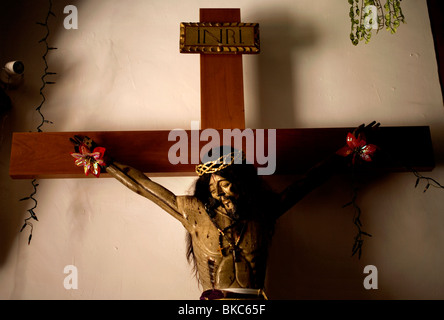 A sculpture of Jesus Christ hangs in the San Miguel Arcangel Church in Tepoztlan, Mexico, December 17, 2007. Photo/Chico - Stock Photo