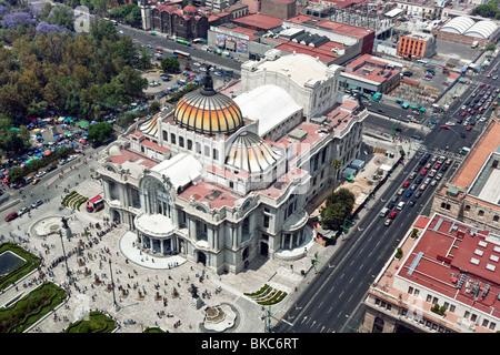 view looking down on ornate Beaux Arts exterior & formal planting of Palacio de Bellas Artes Mexico City - Stock Photo