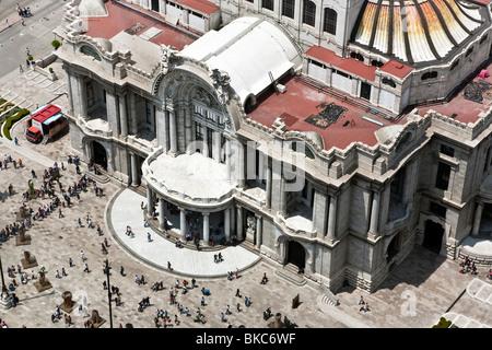 view looking down on ornate Beaux Arts facade & entrance portico of Palacio de Bellas Artes Mexico City - Stock Photo