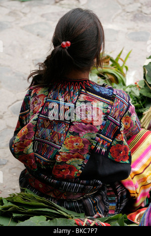 Mayan woman dressed in traditional clothes at the market in Chichicastenango, Guatemala, Central America - Stock Photo
