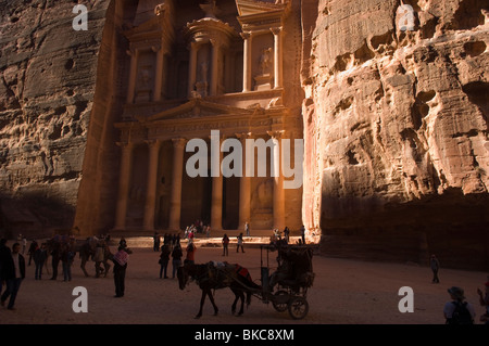 Al Khazneh (The Treasury) early in the morning. Petra, Jordan. - Stock Photo