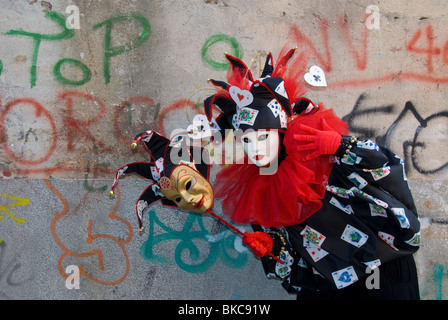 Carnival costumed participant in the Gesuiti neighborhood of Venice, Italy - Stock Photo