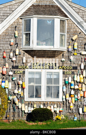 Cap't Cass Seafood building with lobster buoys in Rock Harbor, Orleans, Cape Cod - Stock Photo
