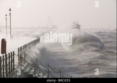 Blackpool being battered by storms on the 18th January 2007 that killed 13 people across the UK in the hurricane - Stock Photo