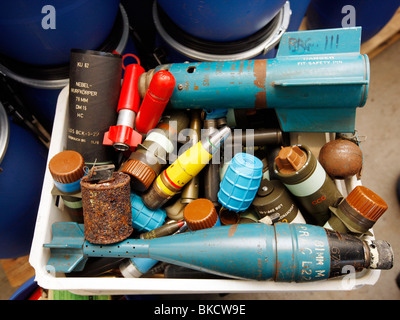 illegal and legal weapons and munition. The weapons are collect and destroyed at the LZPD in Germany - Stock Photo