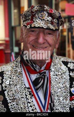 Pearly King, traditional London character at Leadenhall Market - Stock Photo
