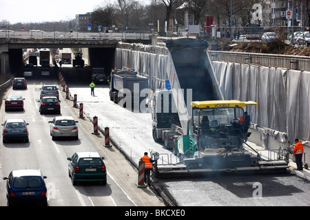 construction area on the motorway A59, Duisburg, NRW, Germany, Europe - Stock Photo