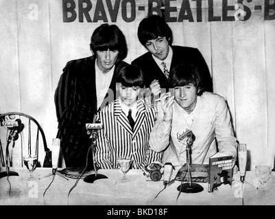 Beatles, 1960 - 1970, British rock band, Paul McCartney, John Lennon Ringo Starr and George Harrison, press conference, - Stock Photo