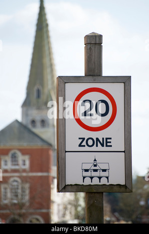Road sign showing a 20 mph speed limit in the town of Market Harborough, England - Stock Photo