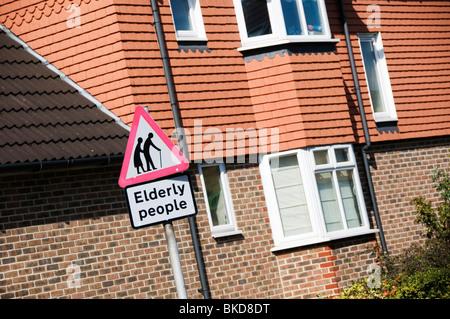 Elderly People warning road sign - Stock Photo