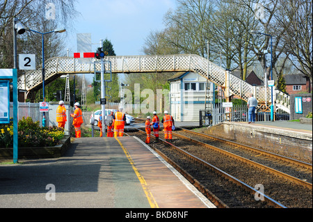 Network rail staff working on the track - Stock Photo