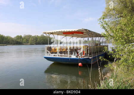 Le Saint-Martin-de-Tours boat moored on the bank of the River Loire Rochecorbon France  April 2010 - Stock Photo