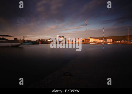 Evening twilight, Aberaeron harbour, Harbourmaster Hotel, quay Ceredigion, Wales UK - Stock Photo