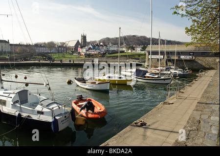 Aberaeron harbour on a warm spring morning, Ceredigion, Wales UK - Stock Photo