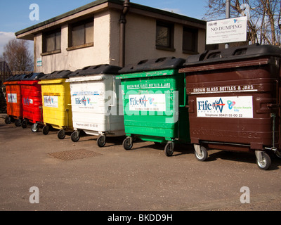 Colourful Recycling Bins, Ceres, Fife, UK - Stock Photo