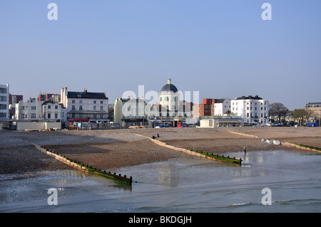 Beach and town view from Worthing Pier, Worthing, West Sussex, England, United Kingdom - Stock Photo