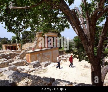 North Propylaeum, Minoan Palace of Knossos (Knosos), Heraklion (Irakleio), Irakleio Region, Crete (Kriti), Greece - Stock Photo