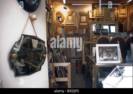 picture framing store in latin quarter paris american art stock photo