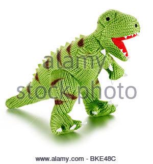 knitted dinosaur - Stock Photo