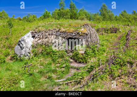 restored shieling at the Forest for a Thousand Years, Cashel, Loch Lomond - Stock Photo