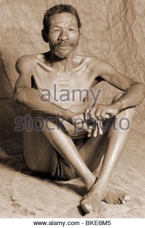 Portrait of an elder Bushman of the San people, Kalahari, Namibia