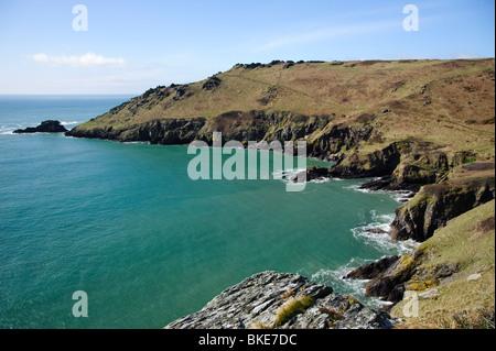 Starehole bay ,the south west coastal path looking towards Mew Stone and Bolt Head, from Sharp Tor near Salcombe, - Stock Photo