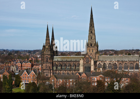 Lichfield Cathedral seen from the spire of Lichfield Heritage Centre, Staffordshire. - Stock Photo