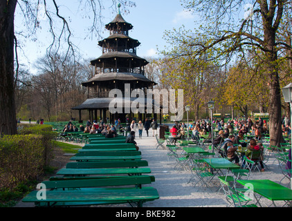 Chinese pagoda in the English garden beer garden, Munich, Germany - Stock Photo