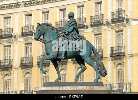 Madrid, Spain. Puerta del Sol. Equestrian Statue of King Carlos / Charles III - Stock Photo