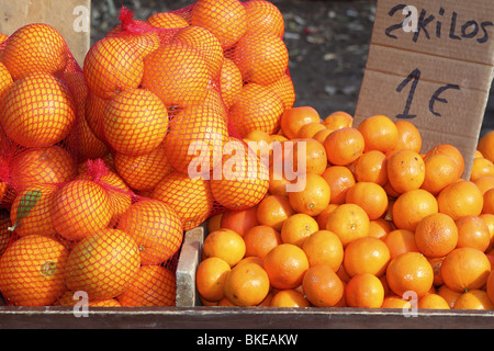 tangerine oranges on mediterranean market - Stock Photo