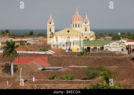 View of Granada Cathedral from the bell tower of Iglesia de La Merced, Granada, Nicaragua, Central America - Stock Photo