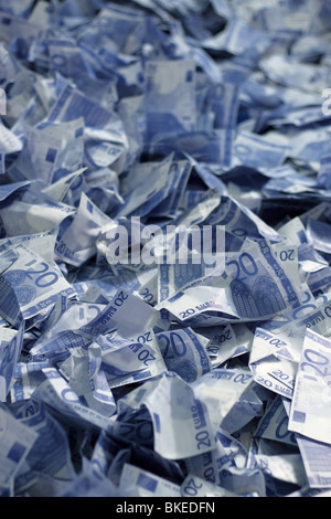 20 euro thousand many bank notes bills background - Stock Photo