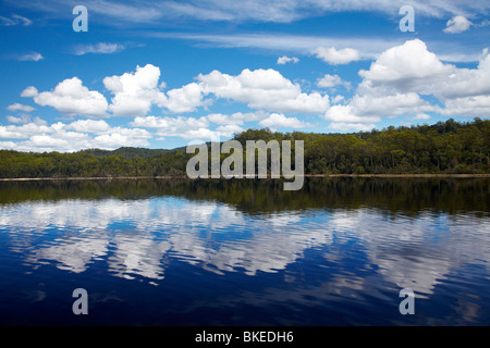 Reflections in Macquarie Harbour near Mouth of Gordon River, Franklin - Gordon Wild Rivers National Park, Tasmania, - Stock Photo