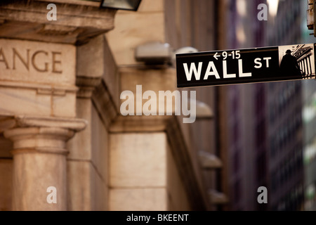 Wall Street sign at the back entrance to the New York Stock Exchange Building, New York City USA - Stock Photo