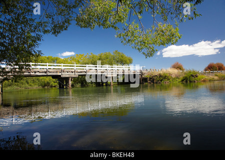 Old Wooden Bridge over Macquarie River, by Woolmers Estate, near Longford, Tasmania, Australia - Stock Photo