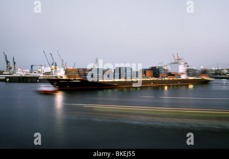 April 14, 2010 - Kota Lambai container vessel being turned at Tollerort Container Terminal in the port of Hamburg. - Stock Photo