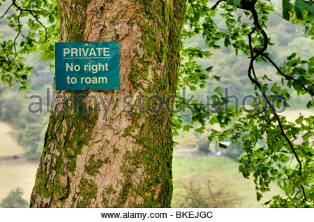 Private No Right to Roam Sign, in the Brecon Beacons, Powys, Wales; UK - Stock Photo